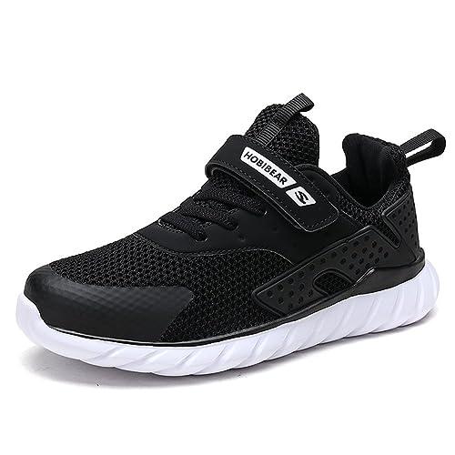 9ed7f810150ba Baskets Enfants Fille Chaussure Sneakers Enfant Garçon Chaussures de Sport  en Salle Running Shoes Noir 26