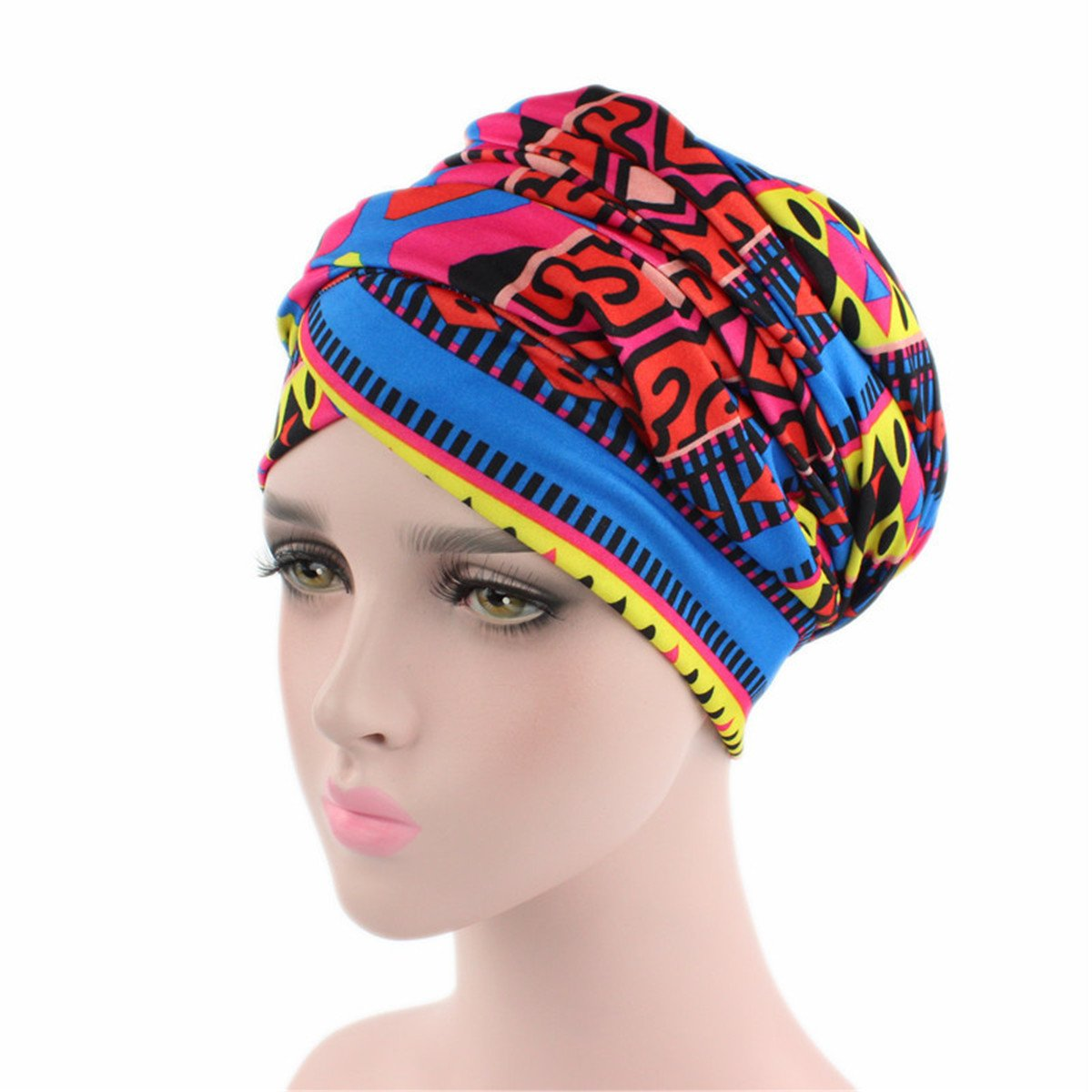 Qhome African Design Headscarf Long Head Scarf Jewish Headcover Turban Shawl Warp Hair African Headwrap Bohemian Headwrap Chem at Amazon Womens Clothing ...