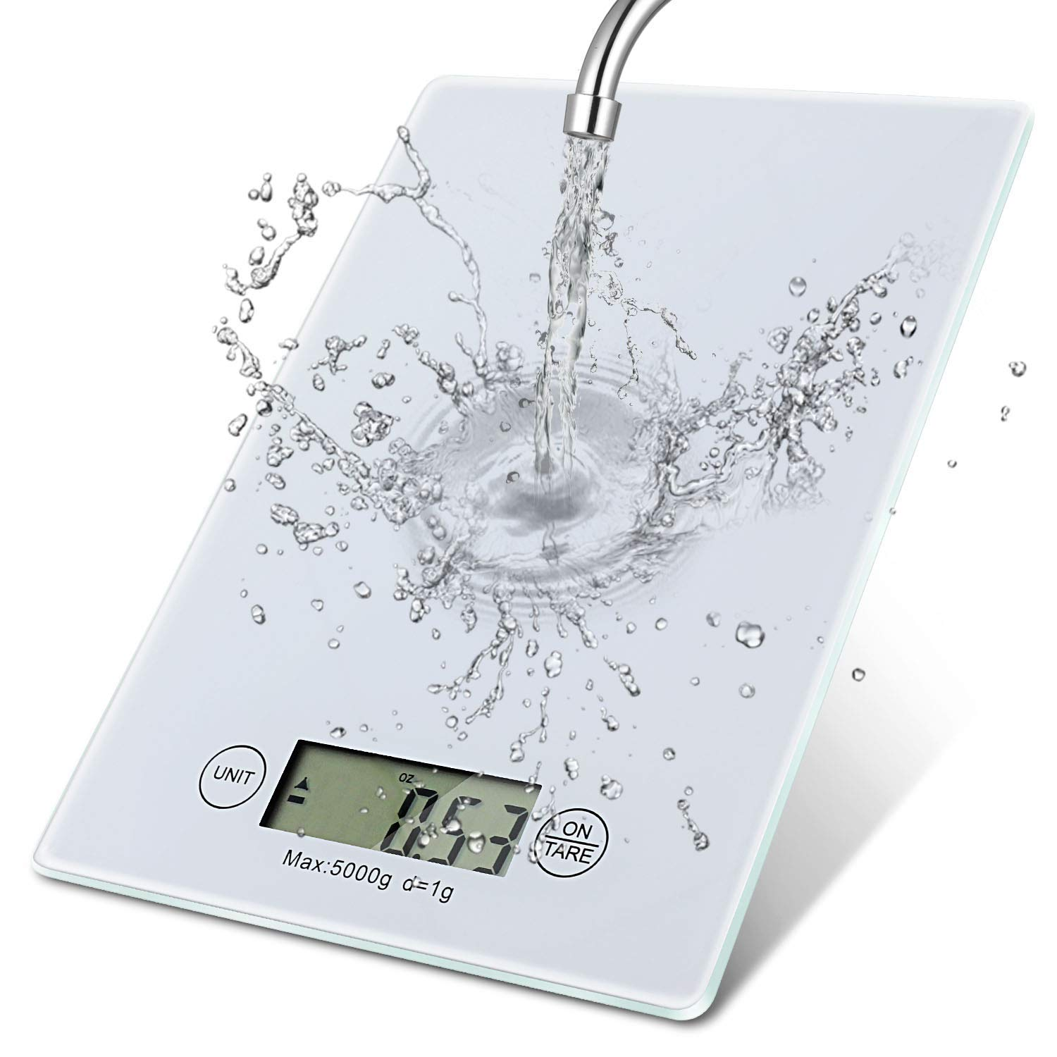 Food Scale Tempered Glass Waterproof Digital Kitchen Weight Grams Ounces Oz Cooking Baking High Precision Target in Grams Ounces Range from 1g-5000g Tare Function