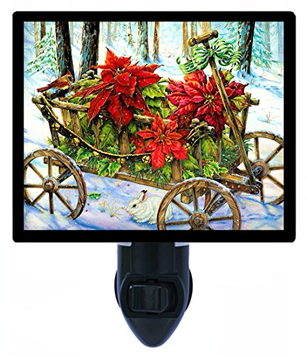 Christmas Night Light - Poinsettia Wagon - Country