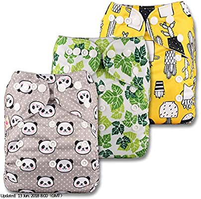 with 3 Bamboo Charcoal Inserts Littles /& Bloomz Patterns 302 Reusable Pocket Cloth Nappy Set of 3 Fastener: Popper