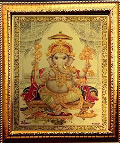 ADA Handicraft Hindu Lord Goddess God Ganesha Religious Framed Painting for Wall and Pooja/Hindu Bhagwan Devi Devta Photo Frame/God Poster for Puja (35 X 25) cm ()