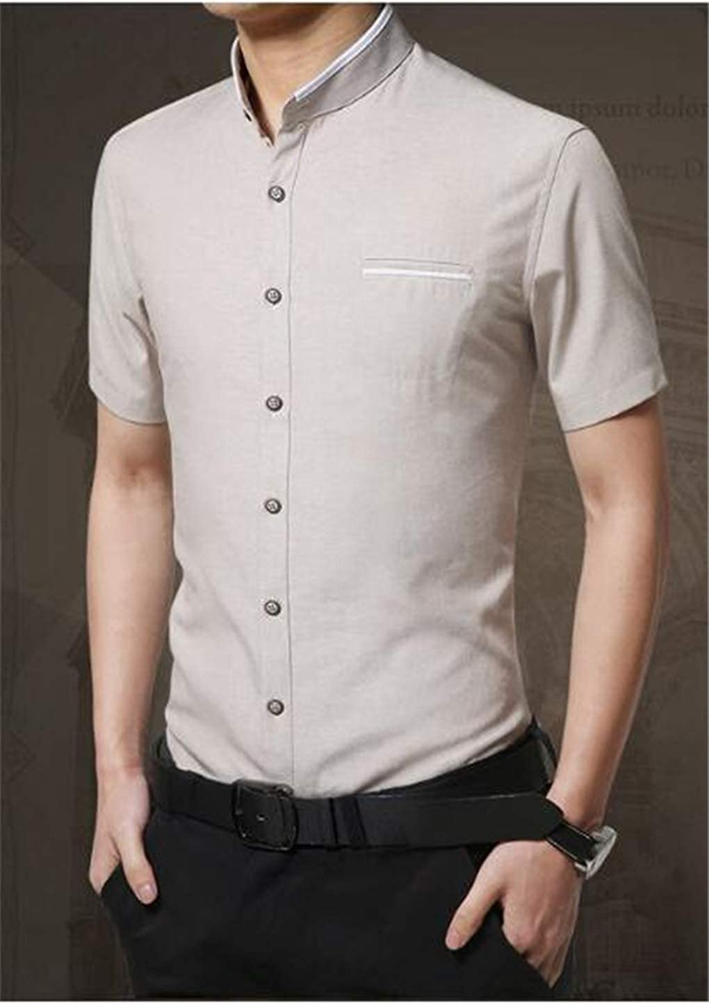 Summer Thin Shirt Business Casual hot Stand Collar for Men