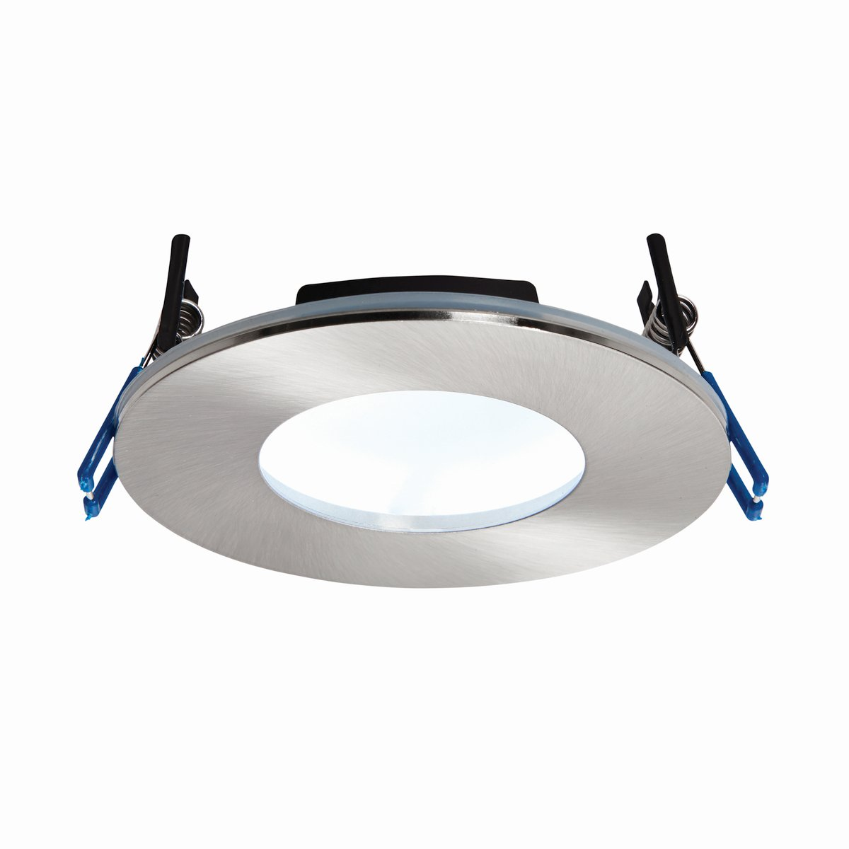 Chrome Finish Die Cast Aluminium Fire Rated Natural White LED Anti Glare Low Profile Ceiling Downlight Spotlight IP65 Rated for Bathroom, Shower, Kitchen, Lounge etc.