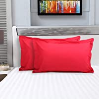 Home Centre Signature Cotton Pillow Covers- Set of 2 Pcs. - Red