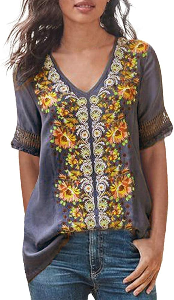 Aniywn Women Vintage Short Sleeve Floral Printed V-Neck Summer Casual Retro Patchwork Tanic Blouse Tops