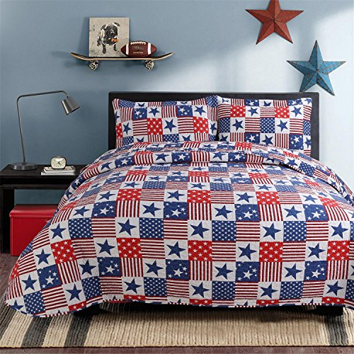 Hilin Fashion Microfiber Reversible Printing Quilt set Queen size with Shams,American style, Lightweight and Hypoallergenic (FLAG, (American Quilts)