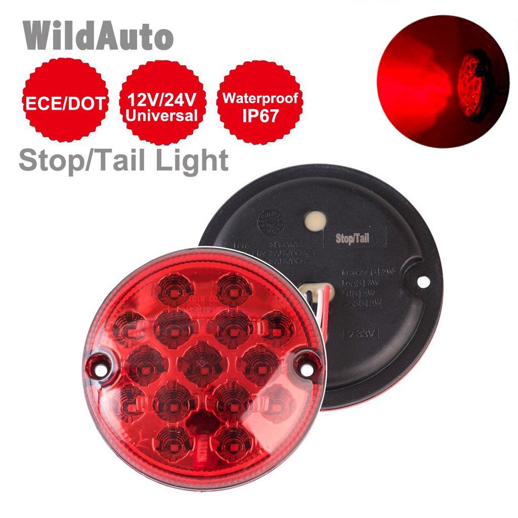 WildAuto - LED Remorque Feux Arriè re, feux Stop - Rouge Feux Clignotant Queue - Pour Camion, Caravane, van - 12 V/24 V - 95 mm - 1 pcs