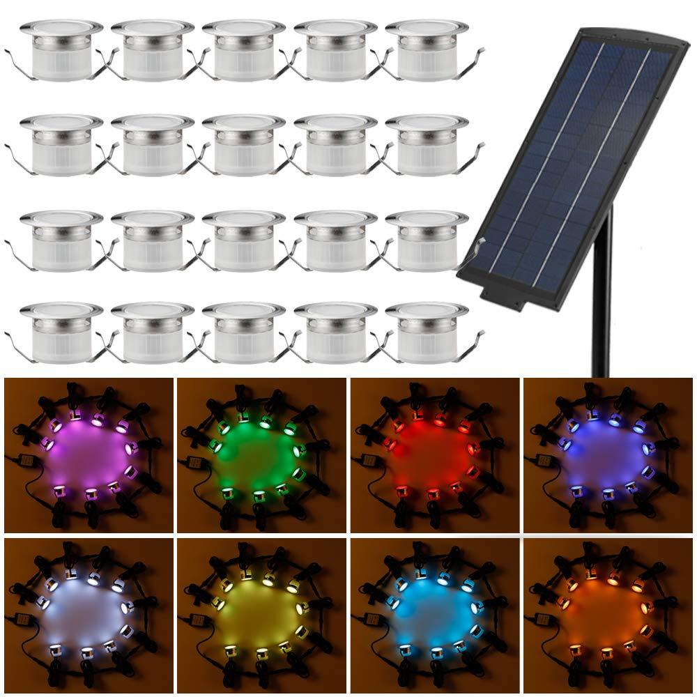 Solar Deck Lights Kit, FVTLED 20pcs Φ1.22'' Solar Powered Dusk to Dawn RGB Low Voltage LED Step Lights Kit Dimmable Muticolor Inground Lights by FVTLED