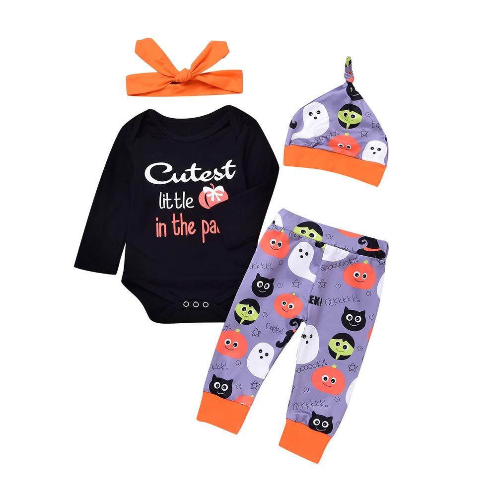 Petites Filles Bodys Pack 4 pour Halloween, Bambin Filles Manches Longues Une Pièce Romper Suit avec Pantalon Bandeau Chapeau Set