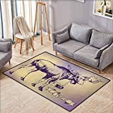 "Living Room Area Rug,Moose,Hipster Deer with Shade Sunglasses and Camera Vintage Ombre Design Funny Animal Art,Extra Large Rug,3'3""x5'3"" Purple Beige"