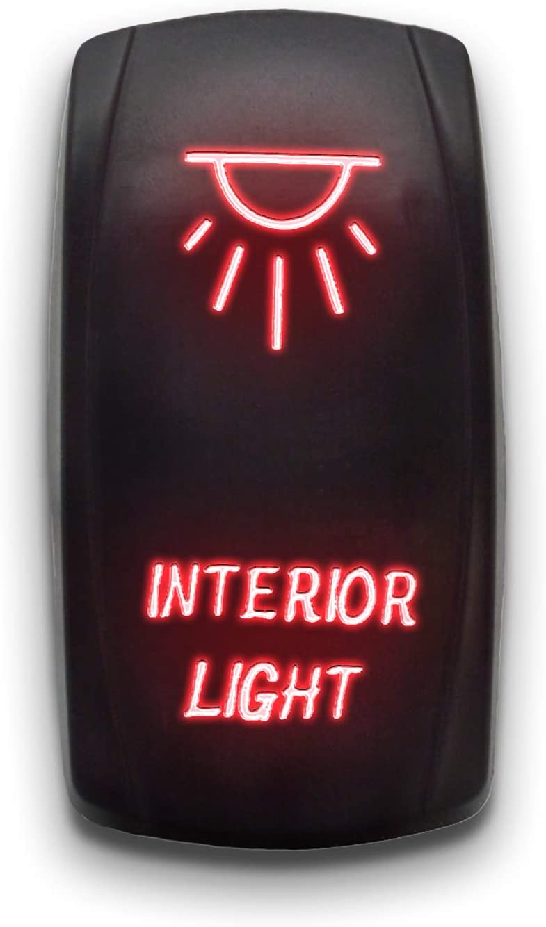 INTERIOR LIGHTS - Red - STARK 5-PIN Laser Etched LED Rocker Switch Dual Light - 20A 12V ON/OFF