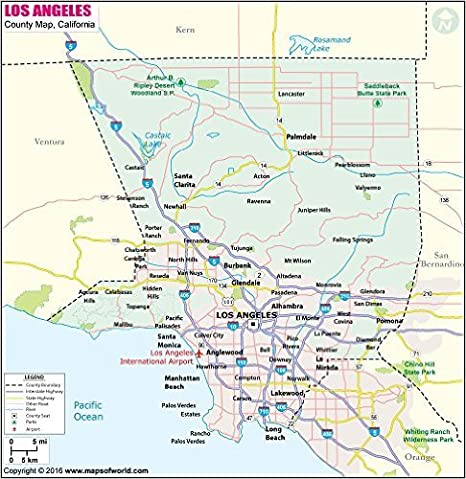 Amazon.com : Los Angeles County Map - Laminated (36\
