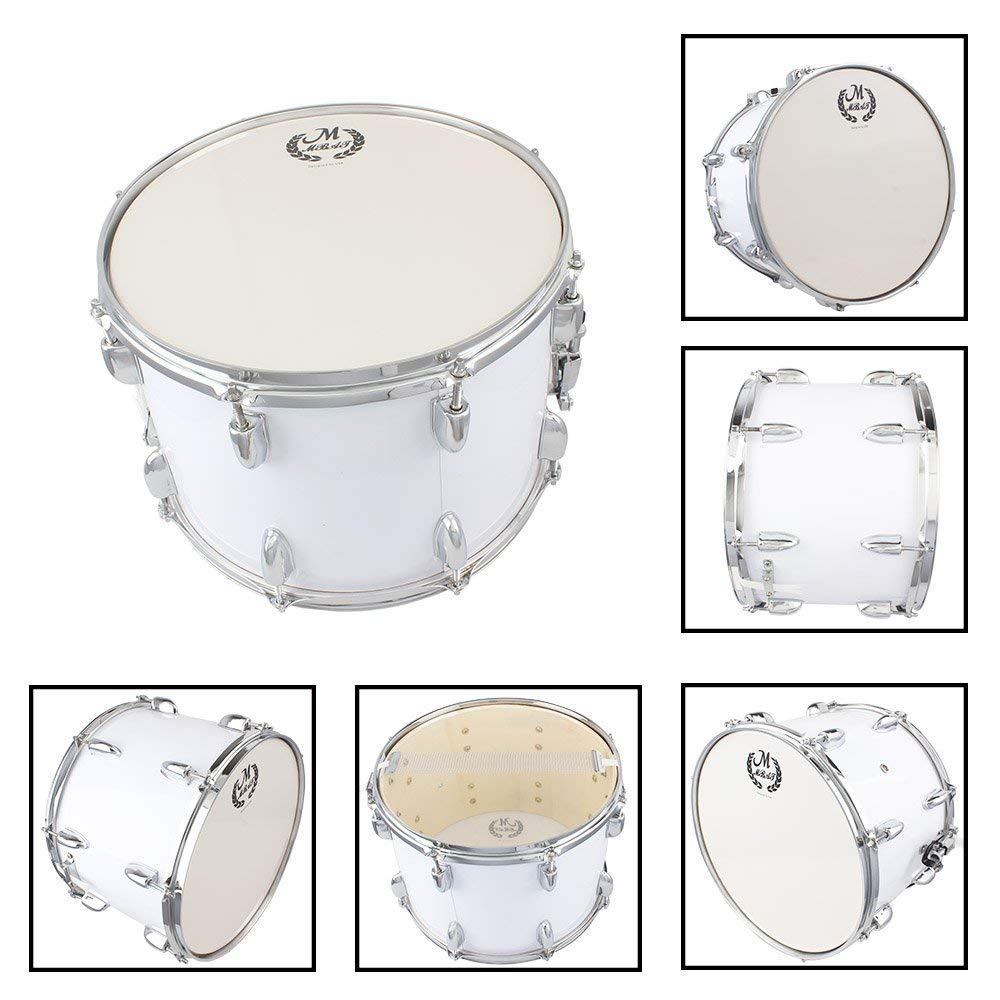 Yoshioe 14 X10 Inches Student Marching Snare Drum Kids Percussion Kit White with Drumsticks Strap by Yoshioe