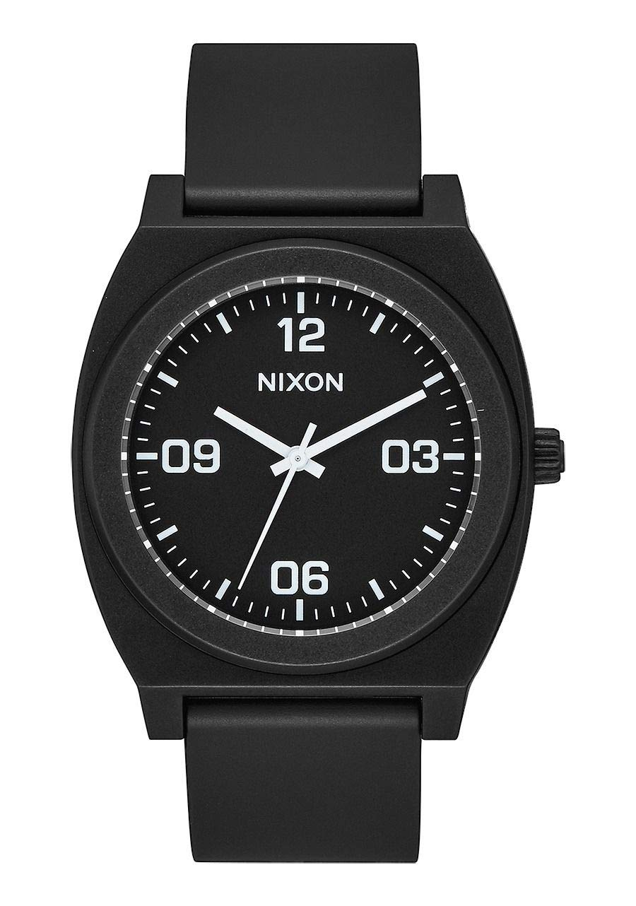 NIXON Time Teller P Corp A1248 - Matte Black/White - 100m Water Resistant Men's Analog Fashion Watch (40mm Watch Face, 20mm Pu/Rubber/Silicone Band)