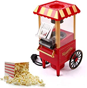 Popcorn Maker Machine Cart Attractive Retro Edition Design Hot Air Popper Kettle with Short Warm-Up Time, Stainless Steel Pot, Interior Lighting, Red, 1200W