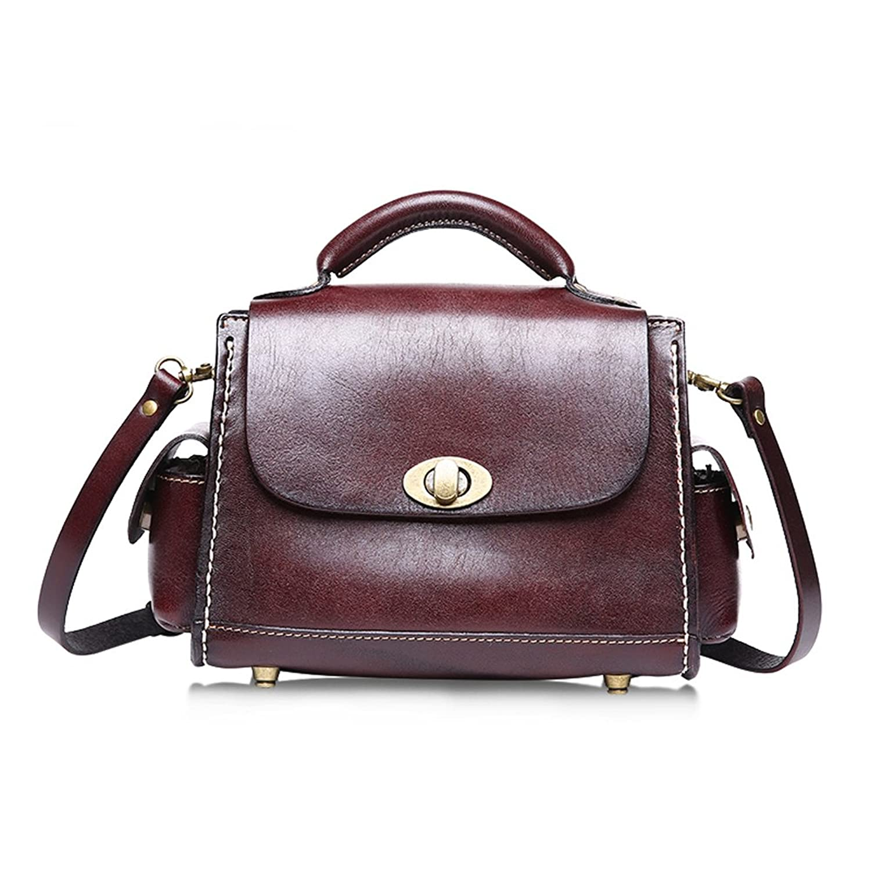 Kteam Vintage Leather Crossbody Bag Handbag for Women