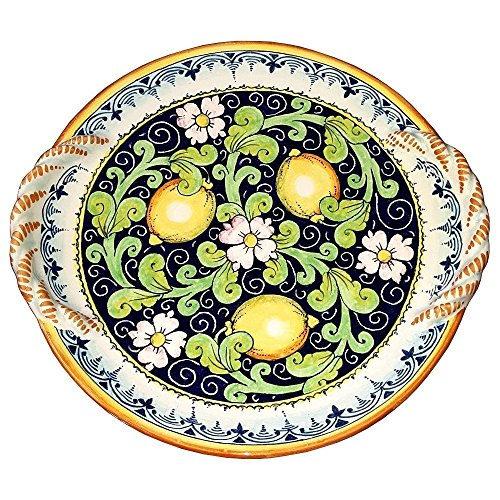 CERAMICHE D'ARTE PARRINI - Italian Ceramic Centerpiece Flat Plate Art Pottery Painted Lemon Made ITALY Tuscan