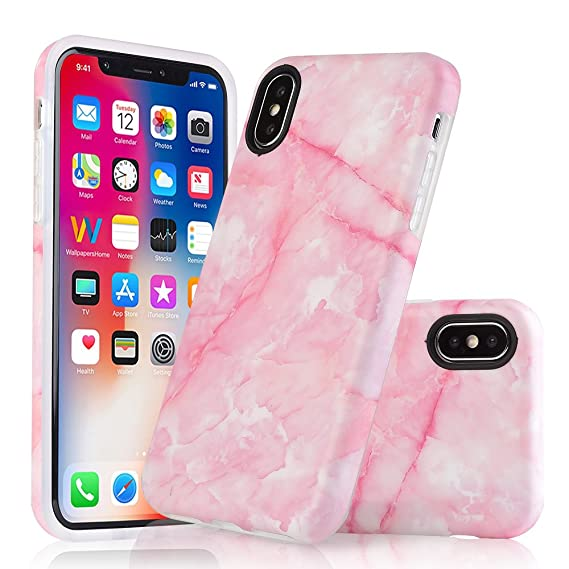Amazon Com Iphone X Case Cosano Pink Marble Pattern Supports