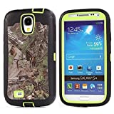 For Samsung Galaxy S4 Case,Fivers(TM) Heavy Duty Case 3 in 1 Three Advantages Waterproof Dustproof Shakeproof with Forest Camouflage Desig Cell Phone Cases for Samsung Galaxy S4 (Green Leaf -Tree)