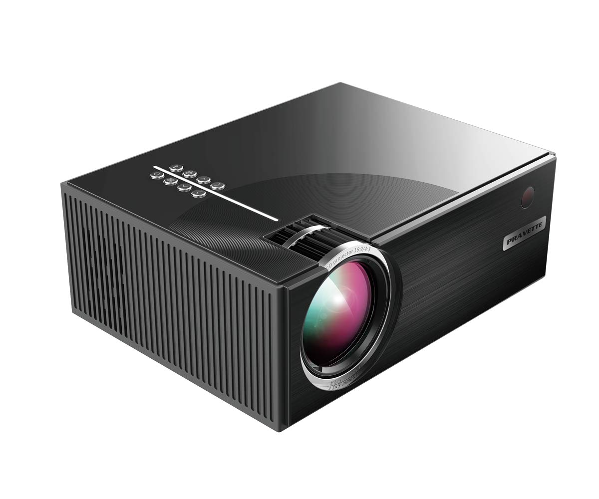 Projector, PRAVETTE Mini Projector Portable Projector 1080p with HDMI, USB, TF, Headphone Supports iPhone Android Laptop PC Outdoor Projector