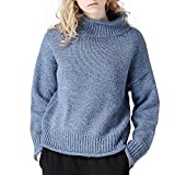 Toyouth Sweaters Women Newest Loose Solid Color All Match Curling Turtleneck Knitted Pullover Blue X-Large