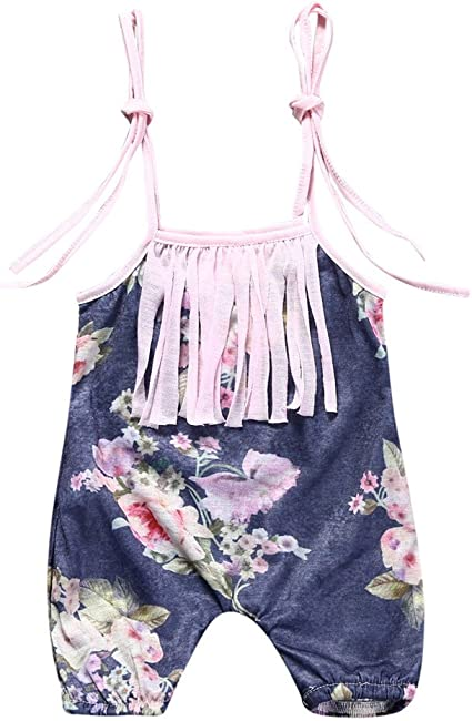Toddler Infant Baby Girls Gallus Romper Bodysuit Jumpsuit kids Clothes Outfits