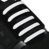 INMAKER No Tie Shoelaces for Kids and Adults, Silicone Flat Shoelaces for Sneaker, Elastic Waterproof Tieless Running Shoe Laces (S/White) offers