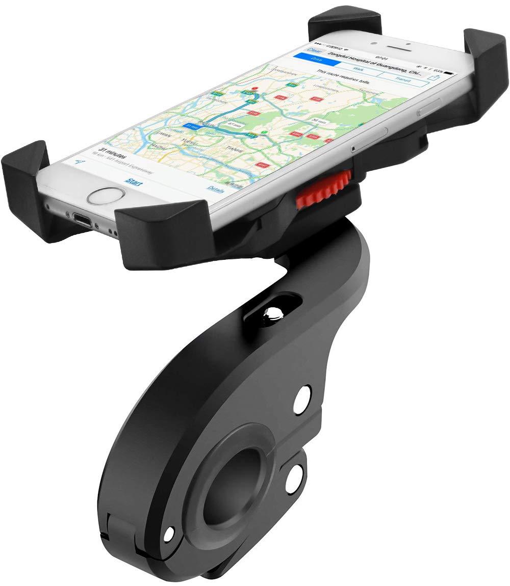 Soporte Movil Bicicleta, Anti-sacudida Soporte de móvil para motocicleta / bicicleta / bicicleta de carretera, rotación de 360 grados, compatible con teléfonos inteligentes IOS / Android de 4in a 6.5in Faneam