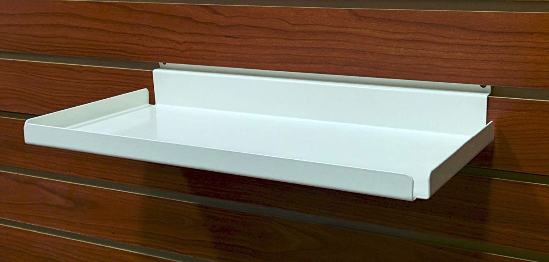Metal Slatwall Shelf w/ .5'' H Lip, 7.5'' D x 15.5'' L- Ivory, 5 Pack