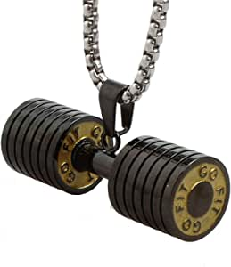 JAJAFOOK Dumbbell Pendant Stainless Steel Dumbbell Barbell Chain Weight Gym Pendant Necklace