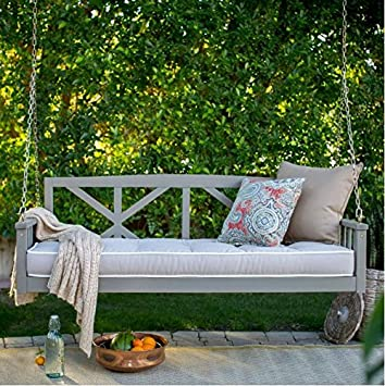 Modern Cottonwood Deep Seating Porch Swing Bed With Cushion Constructed Of  Eucalyptus Wood In Gray Glaze