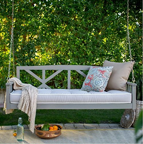 Modern Cottonwood Deep Seating Porch Swing Bed with Cushion Constructed of Eucalyptus Wood in Gray Glaze Finish 64L x 28D x 21H in. (Swing Beds Porch)