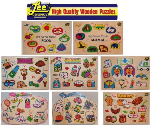 Wooden Puzzle Promo Pack of all 8 Lee Brothers Toys Wooden Puzzles by Lee Brothers