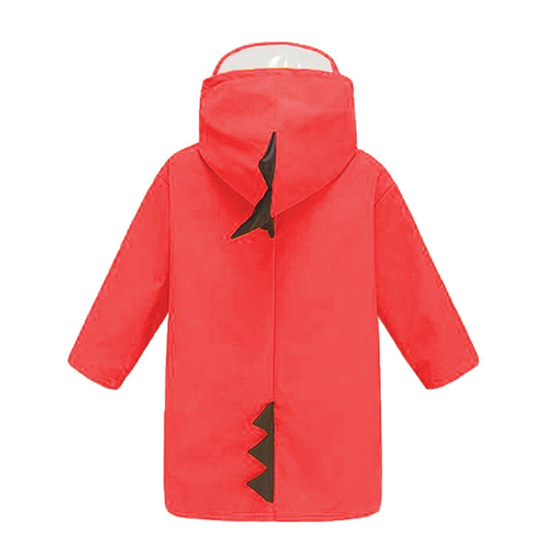 BXT Kids Dinosaur Raincoat Hoodie Rainwear Age 2-5 Toddlers Cute Cartoon Rain Jacket Baixt