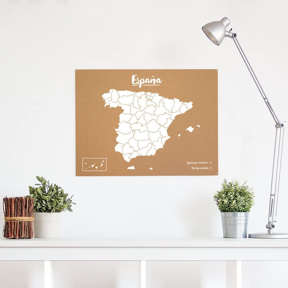 Miss Wood Woody Map L Weltkarte aus Kork wei/ß mit Spanienkarte