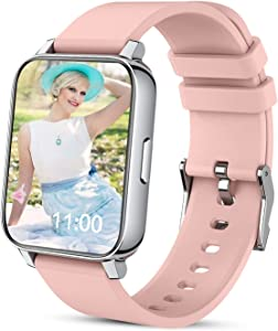 Smart Watch, Watches for Men Women 1.69'' Touch Screen Fitness Tracker Blood Pressure Blood Oxygen Heart Rate Monitor, Pedometer, Smartwatch Compatible with iPhone Samsung Android Phones