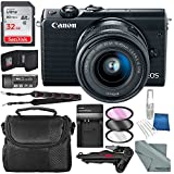Canon EOS M100 Mirrorless Camera w/ 15-45mm Lens & WiFi (Black) + 32GB + Battery Charger Replacement + Xpix Tripod + Accessory Bundle