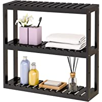 Bamboo Bathroom Shelf Utility Storage - 3 Tier Wall Mounted Shelf Storage Rack, Adjustable Layer Living Room Kitchen, Free Standing Multifunctional Utility Black by Domax