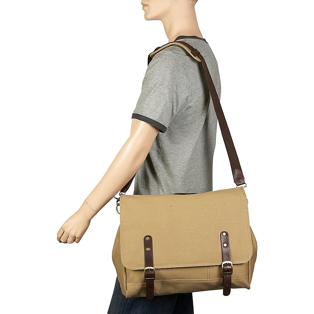 Canvas Courier Bag Clava Redford Collection Khaki Canvas w//Cafe Trim