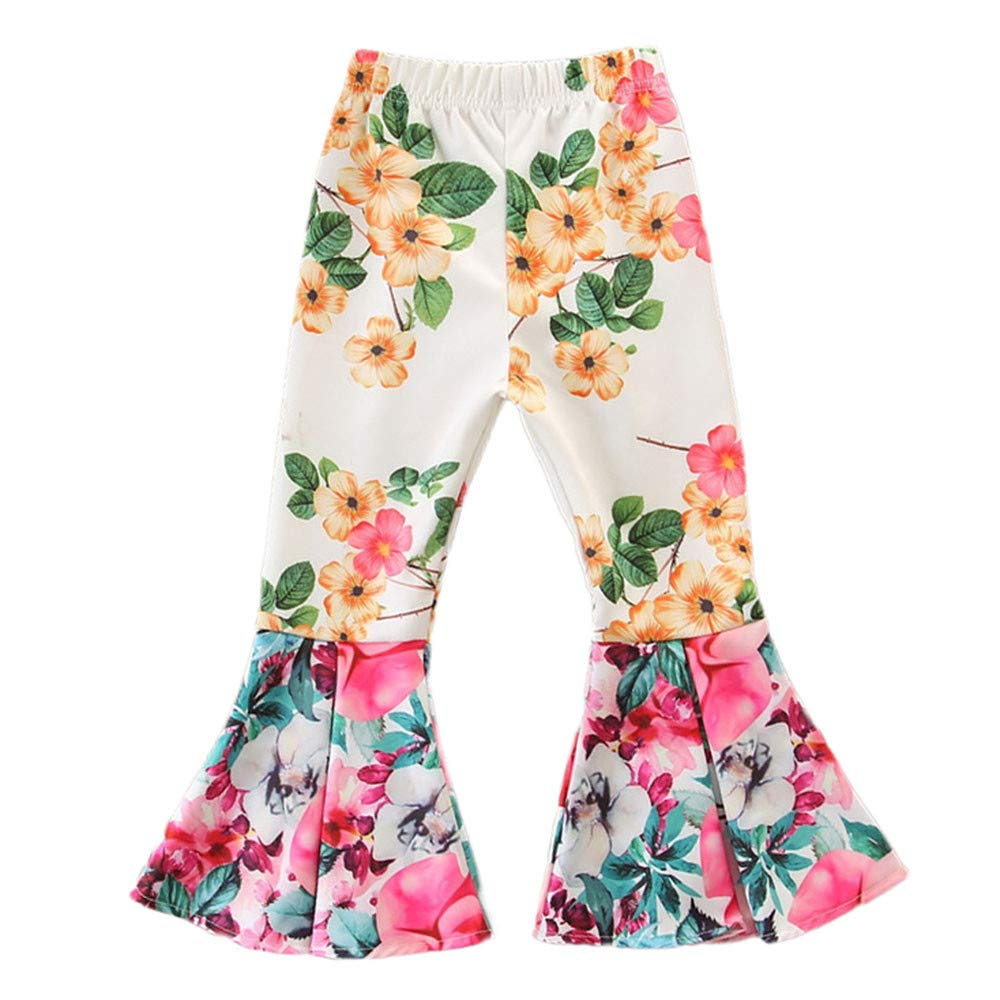 Infant Baby Toddler Girls Flare Pants Fashion Kids Children Fall Floral Bell-Bottoms Long Trousers 0-4 Years