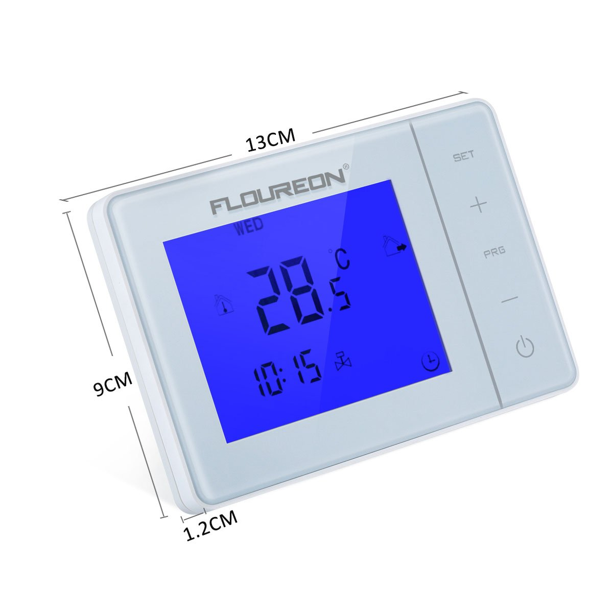 FLOUREON Electric Heating Thermostat With LCD Touchscreen Blue Backlight Display Programmable 5 +2/6 +1/7 Central Heating Thermostat Temperature Controller ...