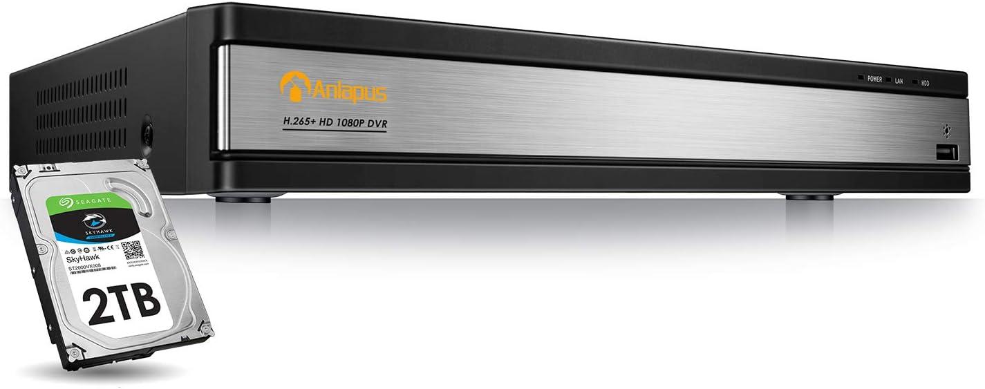 Anlapus 16 Canales 1080P H.265 DVR Videograbador de Vigilancia 2TB Disco Duro para CCTV Sistema de C/ámaras de Seguridad