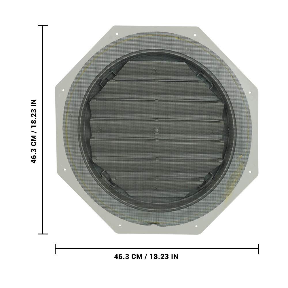 Suntown 16 Octagon Functional Gable Vent with Screen 2 Piece Construction Grey