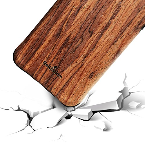 NeWisdom iPhone 8 Wood Case iPhone 7 Case Wooden Unique Shock Proof Hybrid Rubberized Cover [Wood over Rubber] Soft Real Wood Cover for Apple iPhone8 iPhone7 – Sandalwood (Apple Real)