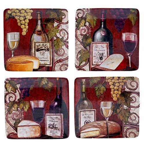 Certified International 57466SET/4 Wine Tasting Canape Plates (Set of 4), 6'', Multicolor by Certified International (Image #1)