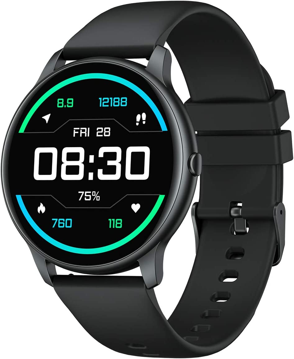 YAMAY Smart Watches for Men and Women Round Smart Watch Fitness Tracker