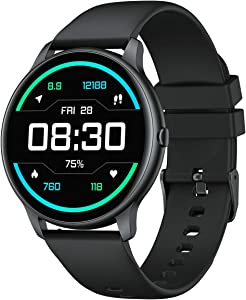 YAMAY Smart Watch Compatible iPhone and Android Phones IP68 Waterproof, Watches for Men Women Round Smartwatch Fitness Tracker Heart Rate Monitor Digital Watch with Personalized Watch Faces