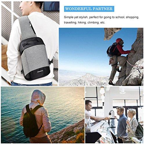 Vbiger Sling Bag Umhängetasche Beiläufig Brusttasche Audio Port und USB Ladeanschluss Hellgrau