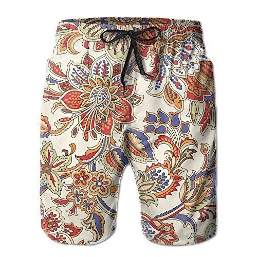 Tydo Retro Floral Pattern Men's Beach Shorts Classic Surfing Trunks Surf Board Pants With Pockets For Men XL